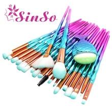 SinSo 10-21pcs Mermaid Diamond Makeup Brush Set Fish Tail Foundation Blush Eye shadow Make up Brush Contour Blending Brushes Kit