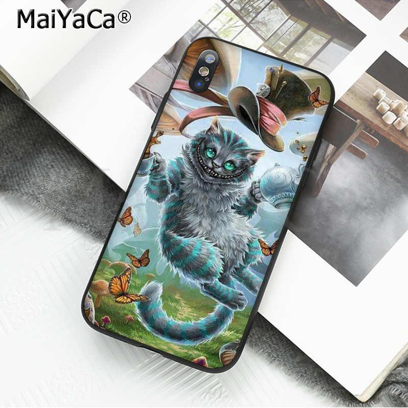 MaiYaCa جراب هاتف لطيف الحالات الغطاء الخلفي كابا أليس في بلاد العجائب شيشاير القط آيفون 8 7 6 6S زائد 5 5s SE XR X XS ماكس