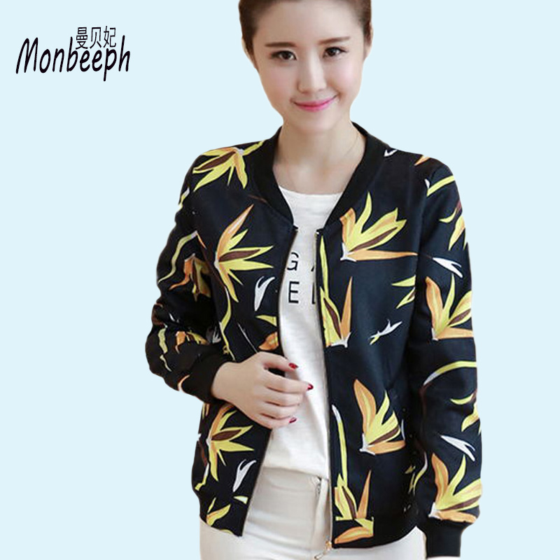 MONBEEPH New Female   Basic     Jackets   Spring   Jacket   Floral Bomber   Jacket   Women Casual Outwear Female   Jacket   Coat plus size 3XL