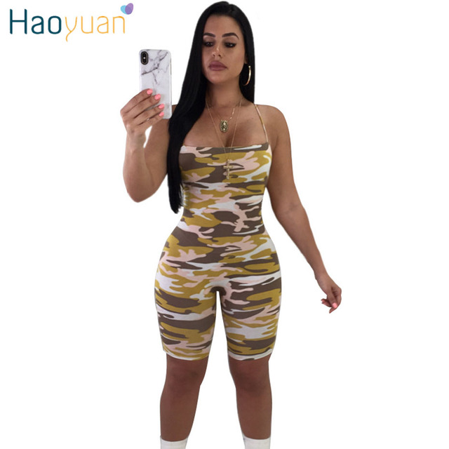 c6d3bf75e5355 HAOYUAN Plus Size Camouflage Print Rompers Womens Jumpsuit Casual Summer  Overalls Bodycon Shorts Bodysuit Camo Sexy Playsuits
