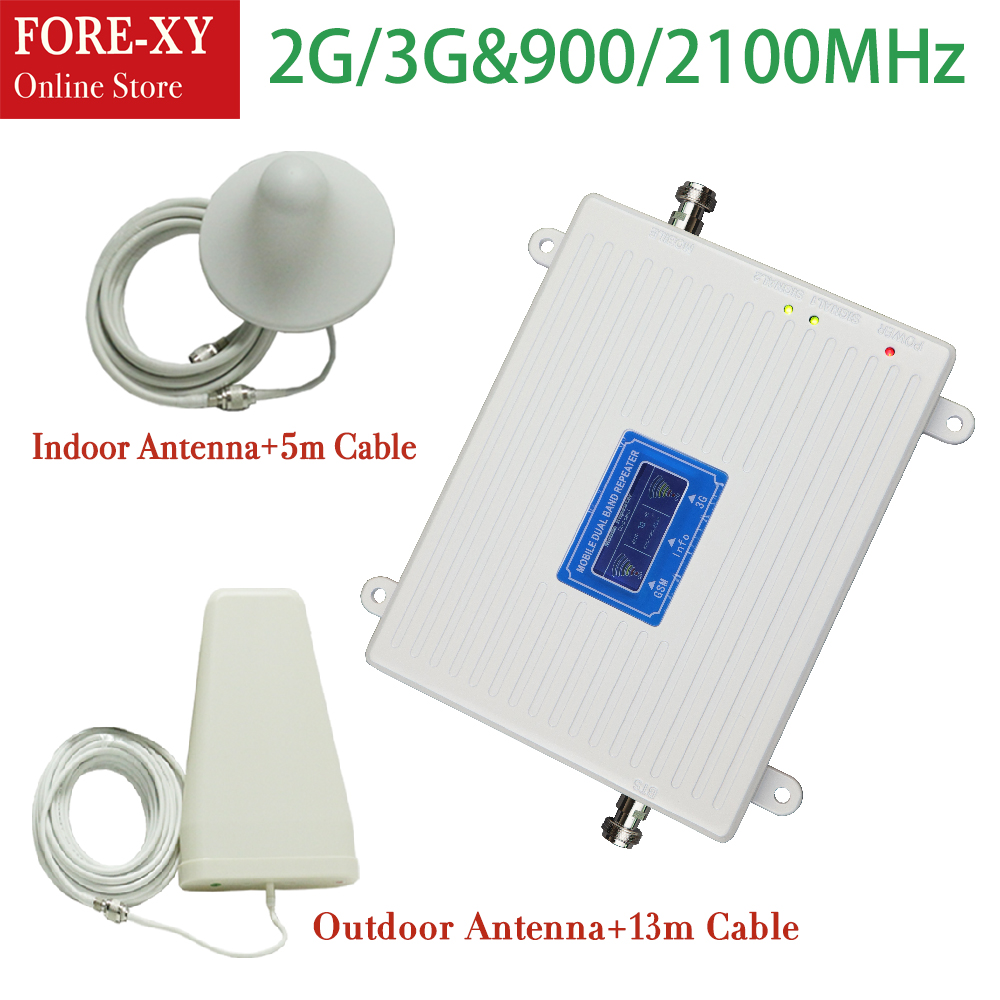 High gain Dual band 2G 3G signal booster GSM 900 3G 2100 Signal repeater amplifier cellular signal booster 3G GSM Repeater(China)