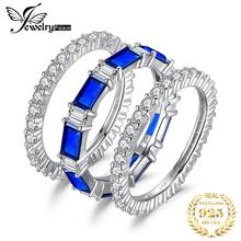 цена на JewelryPalace Eternity 7ct Created Blue Spinel Statement Ring 925 Sterling Silver Ring Sets For Women Wedding Bridal Jewelry