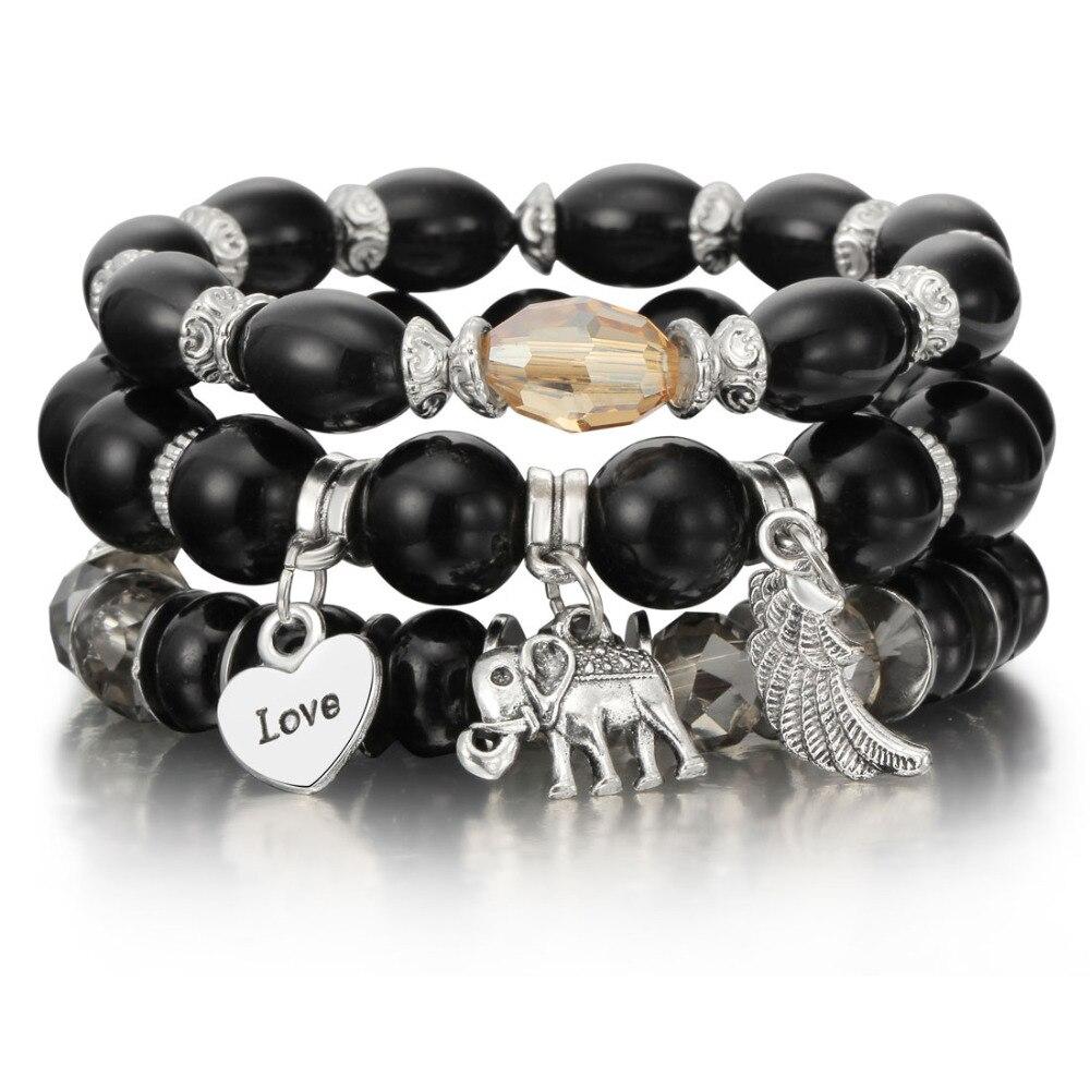 ZOSHI 3-4pcs/set Fashion Boho Bracelets & Bangles Women Stone Beaded Bracelet Set With Colorful Gem Long Wrap Bracelet for Women