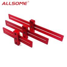 ALLSOME Алюминий сплав 170/270/370 мм шкала измерения скрайбирования линейка; Деревообработка для пальцев, искусственные бриллианты, Т-образный отверстие линейка маркировки инструмент HT2539-2541