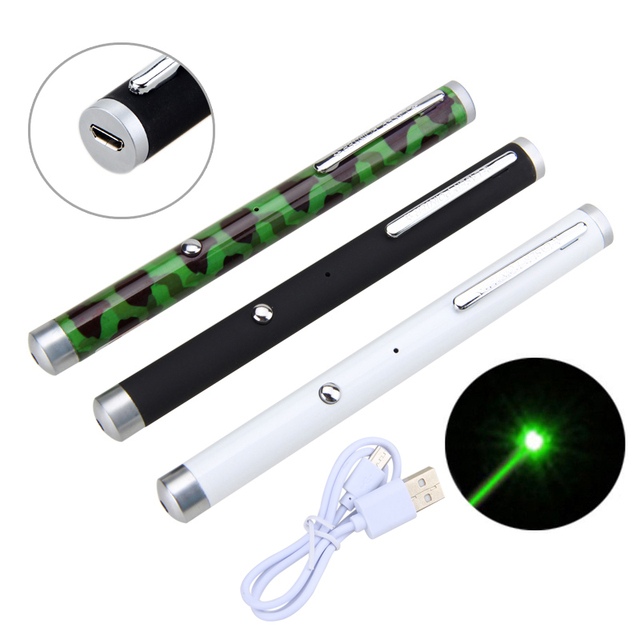 הצבאי 532nm לייזר ירוק עט אור ציד נטענת USB נקודה ירוקה קרן לייזר פוינטר עט 5 mW עם סוללה מובנית