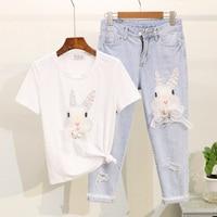 Jeans Suit Women 2019 Summer Pearl Sequins Rabbit Printed Short sleeved T shirt + Hole Seven cent Jeans Two piece Suit Female