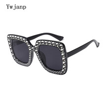 Ywjanp Luxury Diamond Square Sunglasses Women Brand Size Crystal Sun Glasses Ladies 2018 New Gradient Oculos Mirror Shades