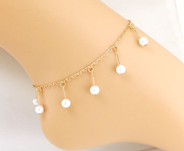 Aliexpresscom Buy Rose Gold Anklet Pearl Leg Bracelet Foot Beach