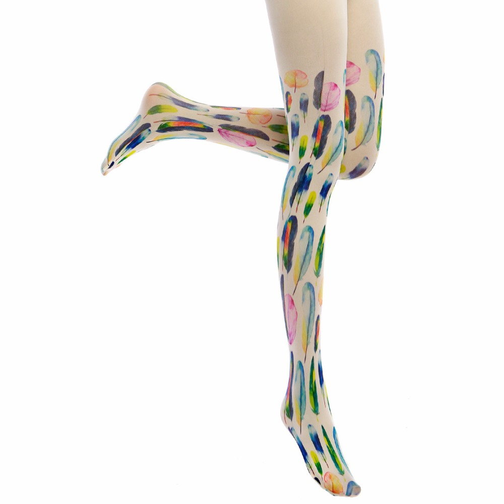 Princess sweet lolita pantyhose Japanese fashion feather color printing and thick water personality stovepipe pantyhose LKW51