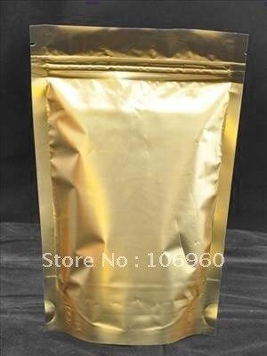 (Free Shipping) Wholesale Gold Metallic Aluminum Ziplock Stand up Foil Zip lock Pouch Bag 16*22cm ZLB720
