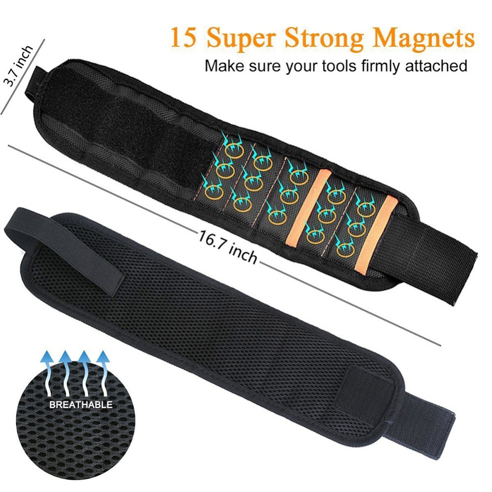 Купить с кэшбэком GHIXACTO Polyester Magnetic Wristband With 10/15pcs Strong Magnets Screw Drill Bits Holder Portable Electrician Tool Belt Bag