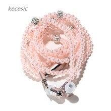 Kecesic 도착 패션 이어폰 아이폰에 대한 마이크와 여자를위한 고급스러운 블링 진주 목걸이 이어폰 삼성 무료 배송