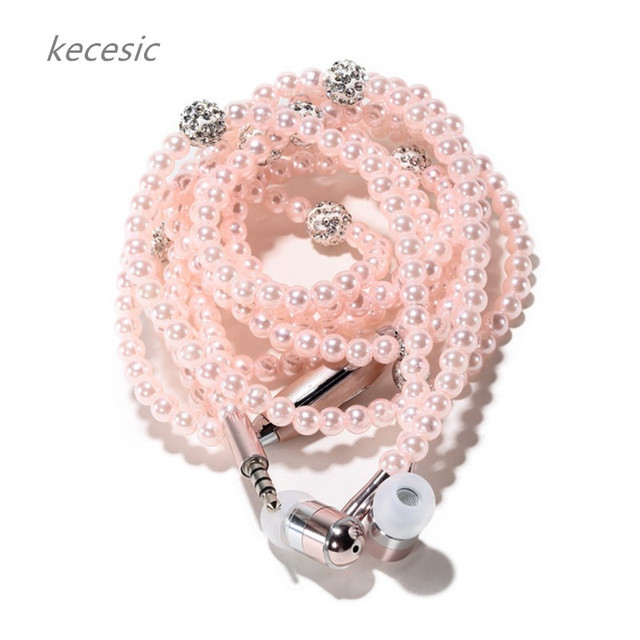 kecesic Arrival Fashion Earphones Luxurious Bling Pearl Necklace Earphones for Girls With Mic For iphone samsung free shipping