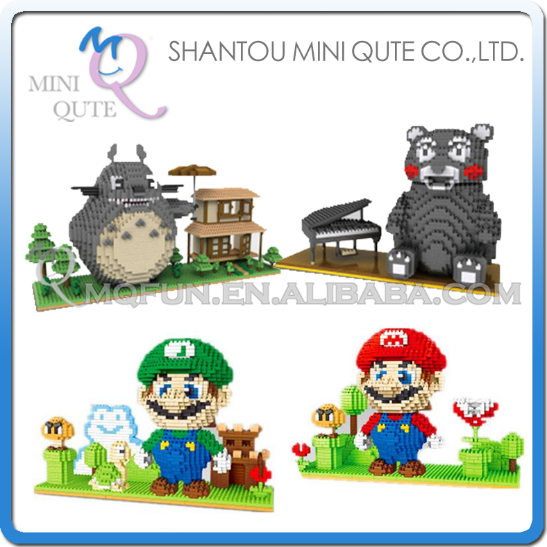 Mini Qute YZ japanese anime game totoro Kumamon super mario luigi kids block plastic building block boys educational gift toy