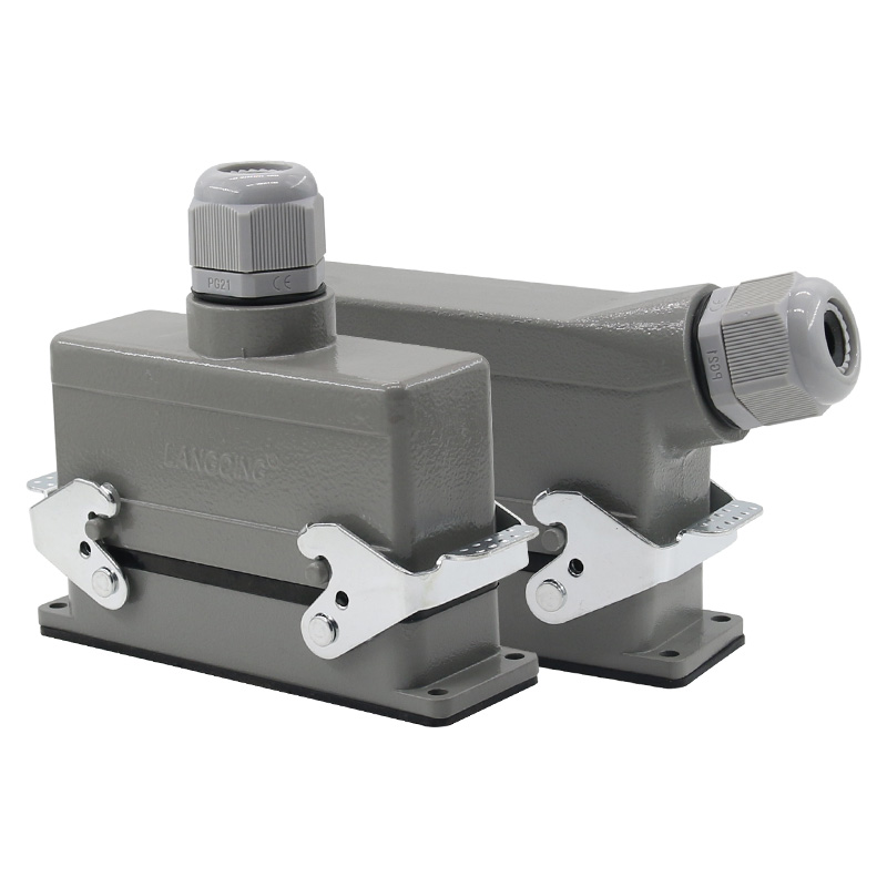 Rectangular H24B - HE - 024-1 heavy duty connectors 24 pin line 16 a500v screw feet of aviation plug on the side mk he 024 3 he series cheap waterproof male female 24 pin industrial amphenol heavy duty connectors