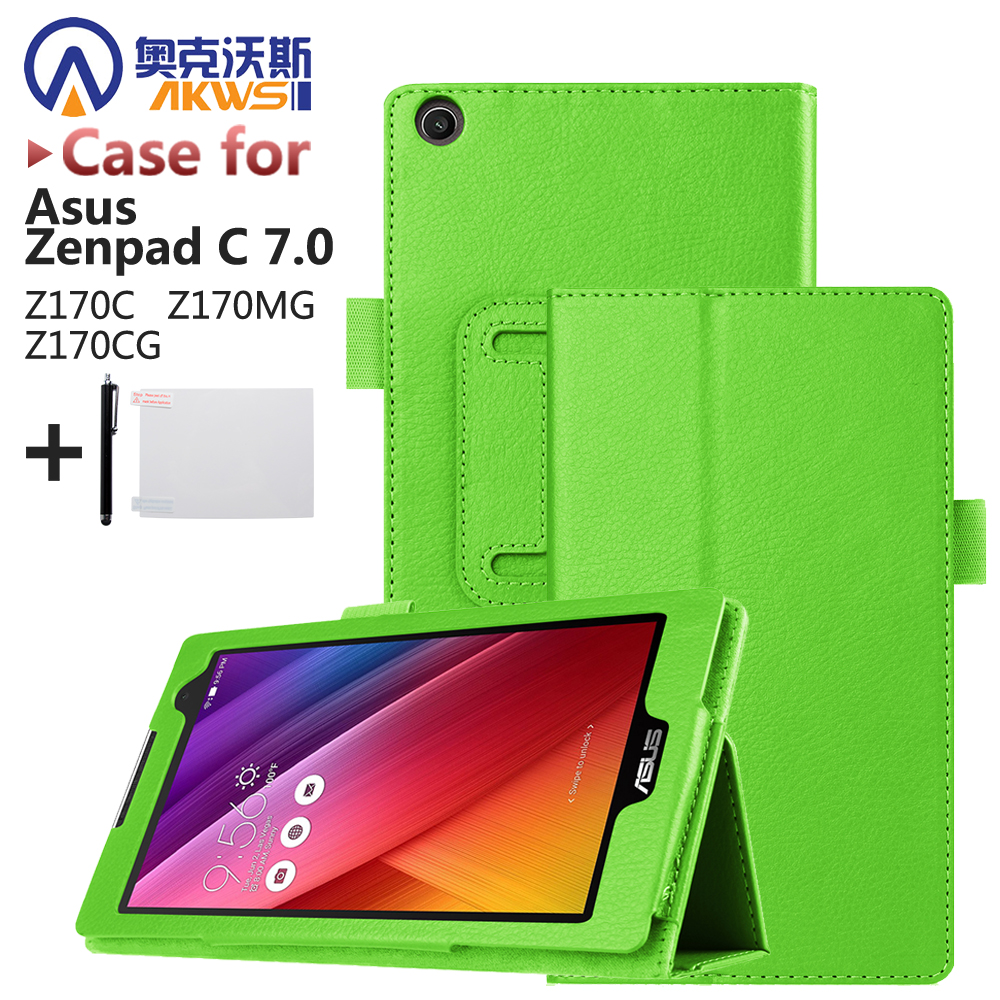 Magnet Leather Cover Stand Case for Asus Zenpad C 7.0 Z170C Z170MG Z170CG Tablet + Screen Protectors + Stylus z170 high quality soft tpu rubber cover semi transparent back case for asus zenpad c 7 0 z170 z170c z170mg z170cg silicone cover