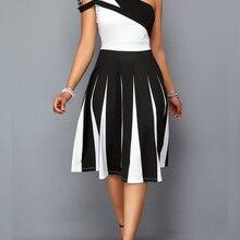 Новые модные женские туфли с коротким рукавом модный сексуальный белый Кружева шифон лоскутное асимметричное летнее на одно плечо A-Line платье доступно в 4 Цвет размера плюс