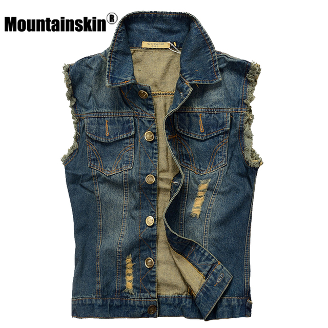 mountainskin ripped jean jacke herren denim weste 5xl 6xl jeans weste m nner cowboy marke. Black Bedroom Furniture Sets. Home Design Ideas