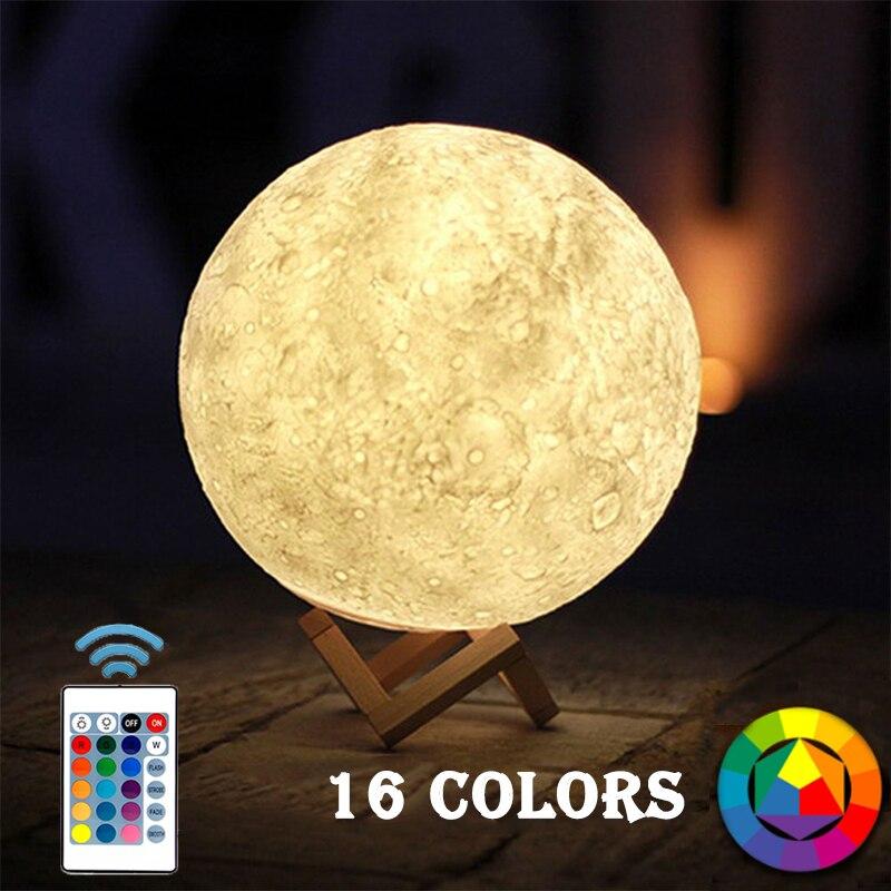 Festive & Party Supplies Smart Drop Shipping 16 Colors Moon Light Sensor Energy-saving Night Light 3d Printing Bedside Creative Desk Lamp Led Light Moon Lamp