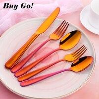 20 Pieces 30 Pieces Fashion Orange Red Cutlery Stainless Steel Dinnerware Spoon Fork Knife Teaspoon Wedding Party Tableware Set