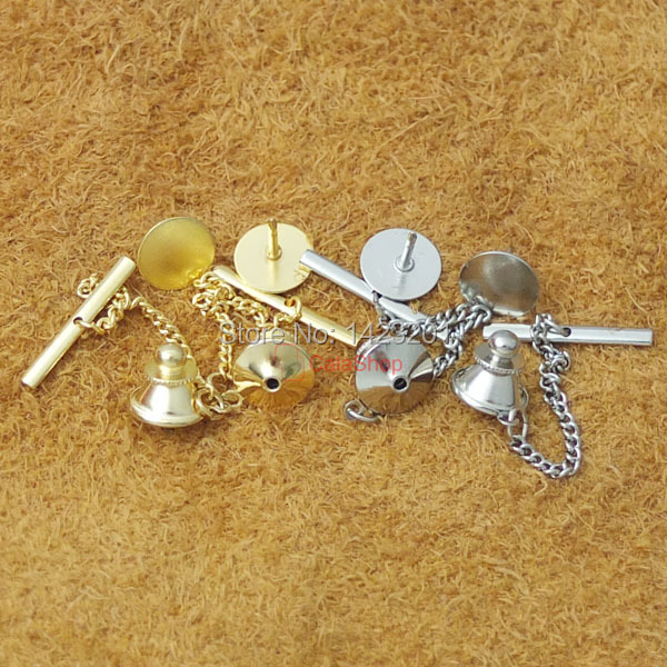 50 sets Locking Tie Tac Tack Pin Guard Clutch Backs Chain Lapel Findings Blanks Nickel Gold