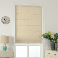 Custom Made Solid Color Curtain Cotton and Linen Roman Curtain Door Curtain for Bay Window Litre Fall Shade
