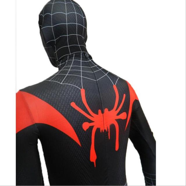 New 2018 Kids Spider-Man Into the Spider-Verse Miles Morales Cosplay Costume Zentai Spiderman Pattern Bodysuit Suit Jumpsuits 4