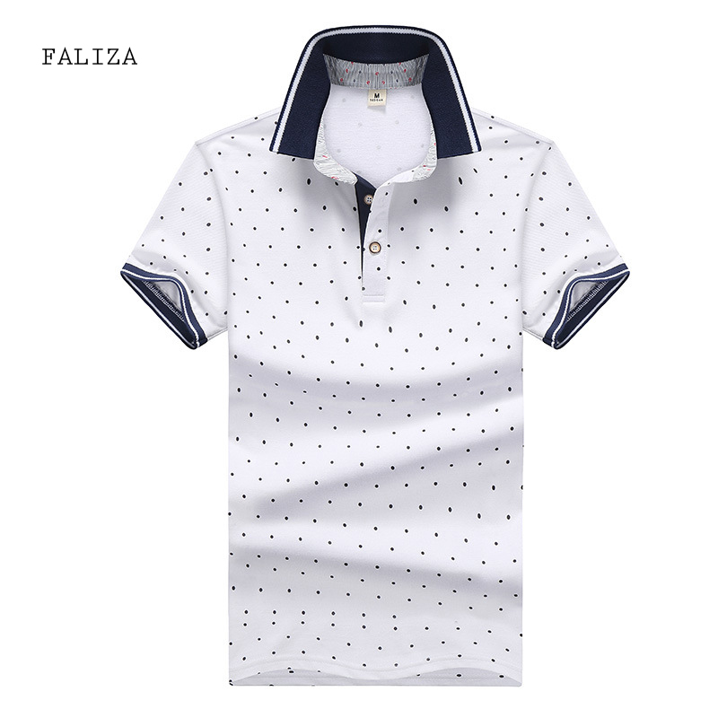FALIZA New Brand Mens   Polos   Shirts Plus Size 4XL Polka Dot Printed Shirts Men 2018 Summer Breathable Mens   Polos   95% Cotton TX109