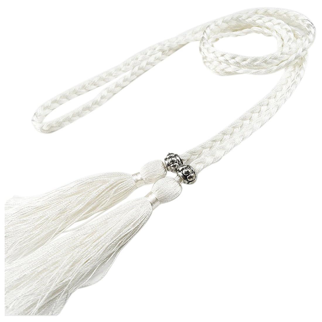 Woven tassel   belt   knot decorated waist chain waist rope White