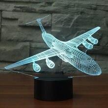Ночник светодиодный 3d в виде самолета 7 цветов меняющийся самолёт