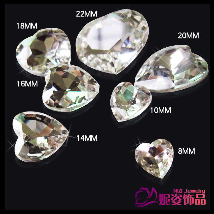 Heart Shape 6mm-27mm Crystal Color Luxury Glass Stones Crystal Beads Perfect For Nail Art Scrap Booking Diy Decorations 6 30mm 1122 rivoli crystal silver shade stones pointed back glass beads great for crafts nail art shoes dresses diy decoration