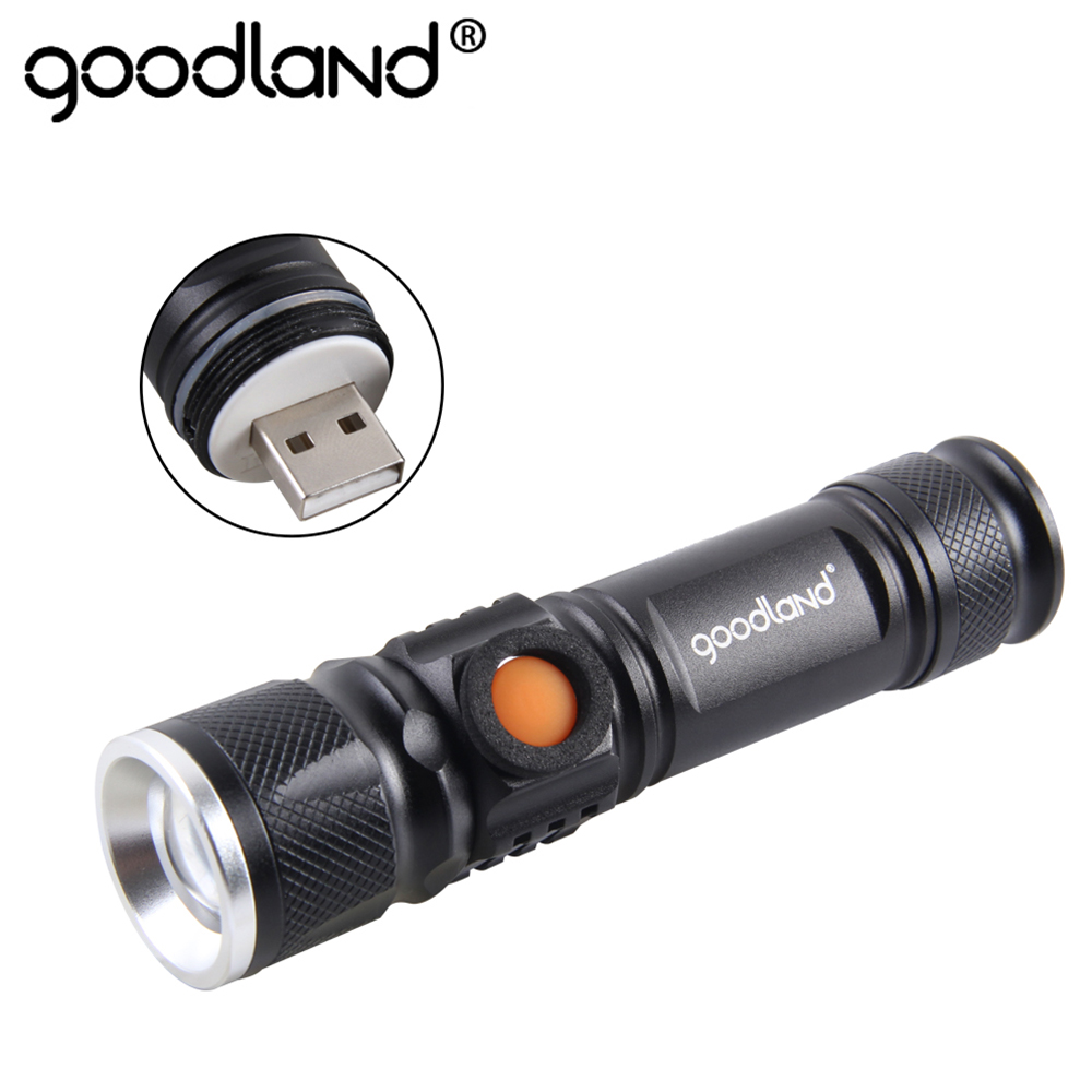 Goodland USB LED Flashlight T6 LED Torch Mini Handy Rechargeable 18650 High Power 3 Modes Zoomable For Bicycle Camping Hiking