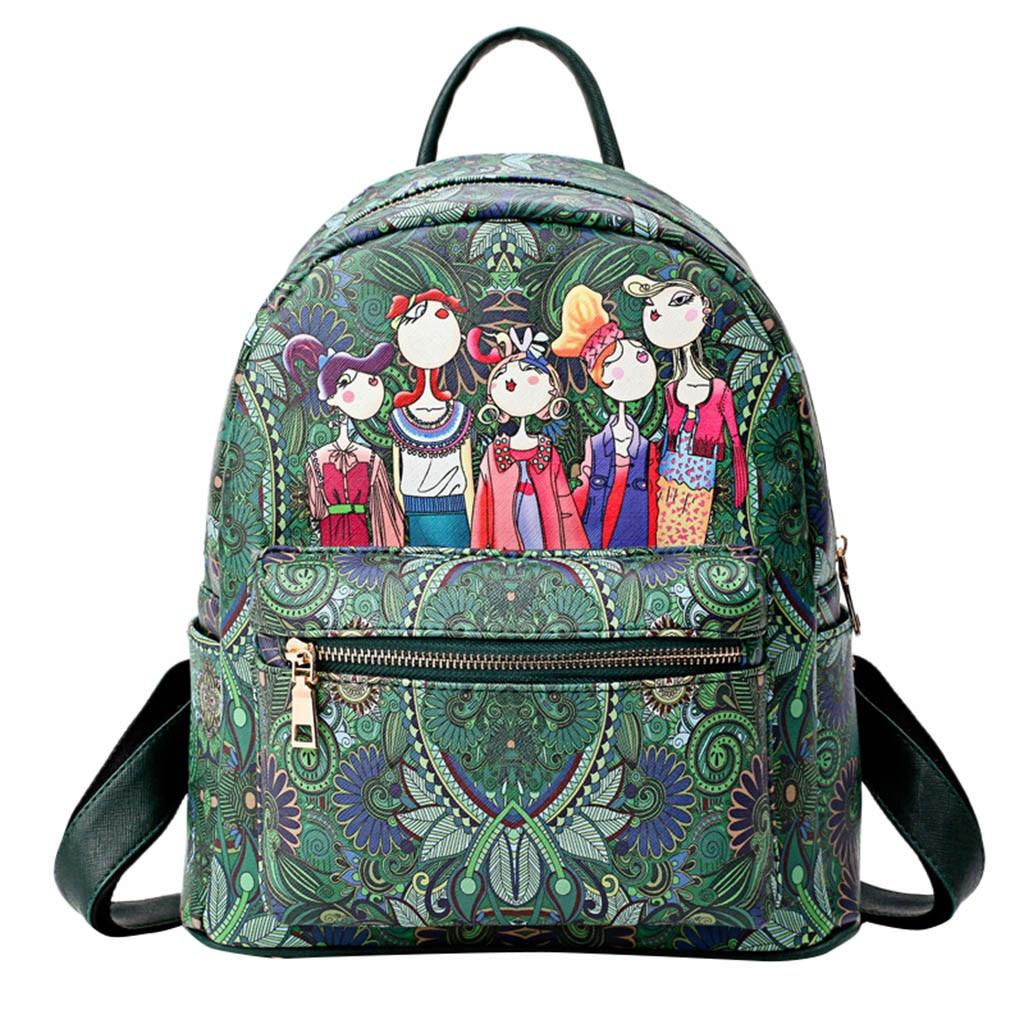 312f80f567 Forest Girls Pattern Print Backpack Women Large-capacity Double Shoulder  Backpack Schoolbag Backpacks Mini Retro