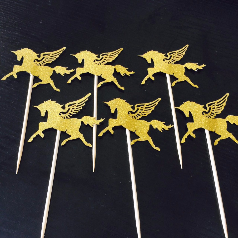 10pcs Silver Gold Unicorn Pegasus Cake Toppers for Wedding Favors Baby Shower Birthday Party Cake Decoration Boy Girl Kids Favor