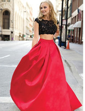 Scoop Short Sleeve Floor Length Two Piece Evening Gown A-Line Back Red Dress Taffeta Long Lace