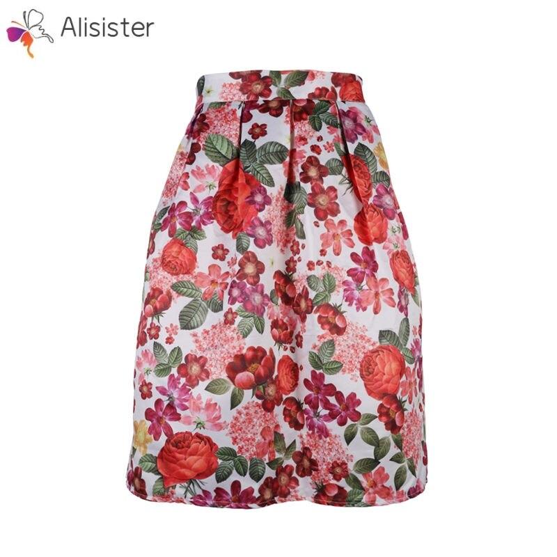 Vintage Retro Flower Floral Printed Ball Gown Skirts High Waist Knee Length Midi Skirts Women