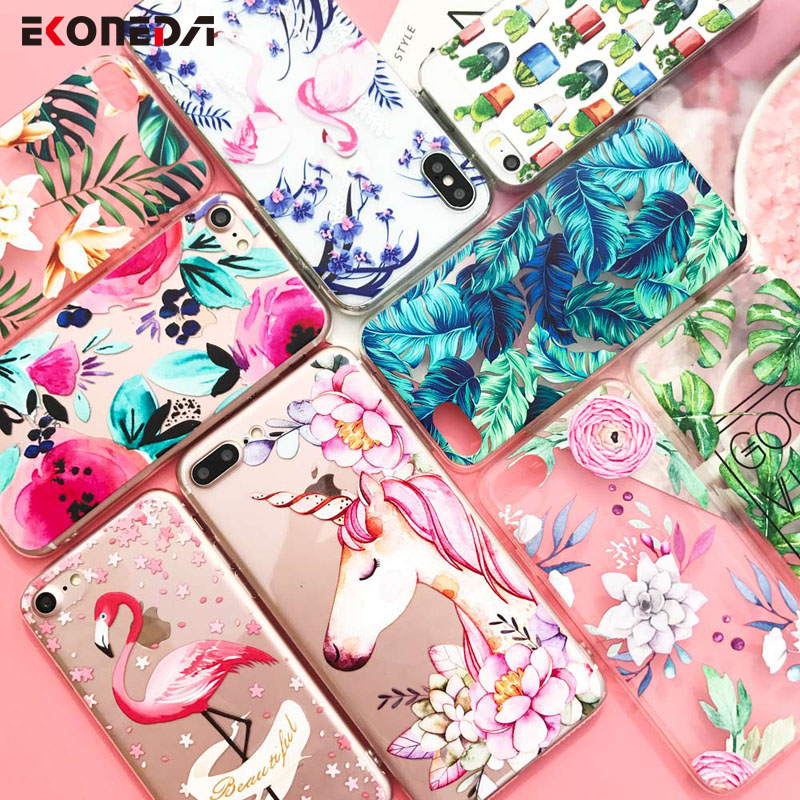 EKONEDA Silicone Case For iPhone 7 7Plus 6 6S 6Plus 5 5S SE Case Soft TPU Cover Flower Leaves Bird For iPhone 6S 8Plus X XS Max colorful dots pattern silicone back case for iphone 6 4 7 white