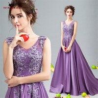 Long Purple Evening Dresses Robe De Soiree Women Romantic Formal Evening Gown vestido de noite A-line Beading Lace DR26