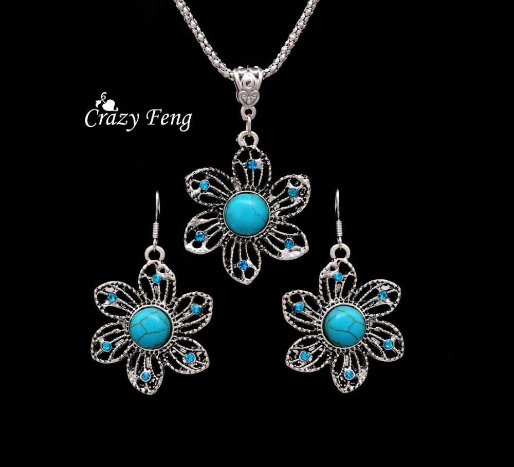 Popular free shipping promotion well quality silver-color earrings and necklace summer jewelry set for women wedding party