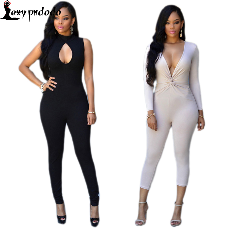 Sexy Rompers Women Jumpsuit Party Playsuit Solid Color Sexy Jumpsuit Night Club Bodycon Grey/Black Long Pant Combinaison Femme