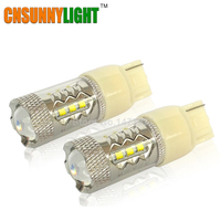 CNSUNNYLIGHT 7440 W21/5W T20 w/ XB D Chips 16 SMD Wedge Car Brake Stop Reverse Turn Signal LED Bulb 12V White 6000k