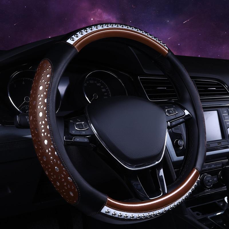 KKYSYELVA car steering wheel cover 38cm Black Genuine Leather Steering-wheel Auto Interior Accessories