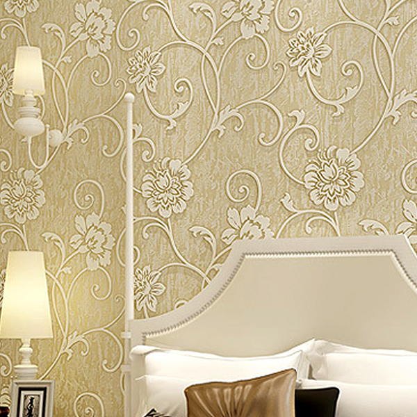 European Design Style Living Room Bedroom Background Wallpaper 3d Relief Stereoscopic Flocking Embossing Wallpaper 3d Wall
