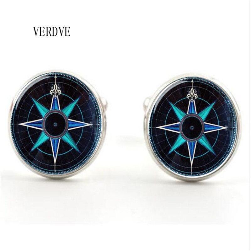 Модные компас хрусталь Jewelry ювелирные изделия мужские запонки