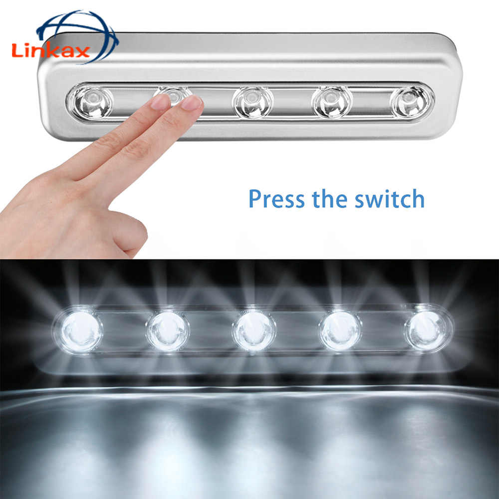 5 LEDs Wireless Night Light Cabinet Closet Wardrobe Stair Kitchen Bedroom Night Lamp drawer Lighter