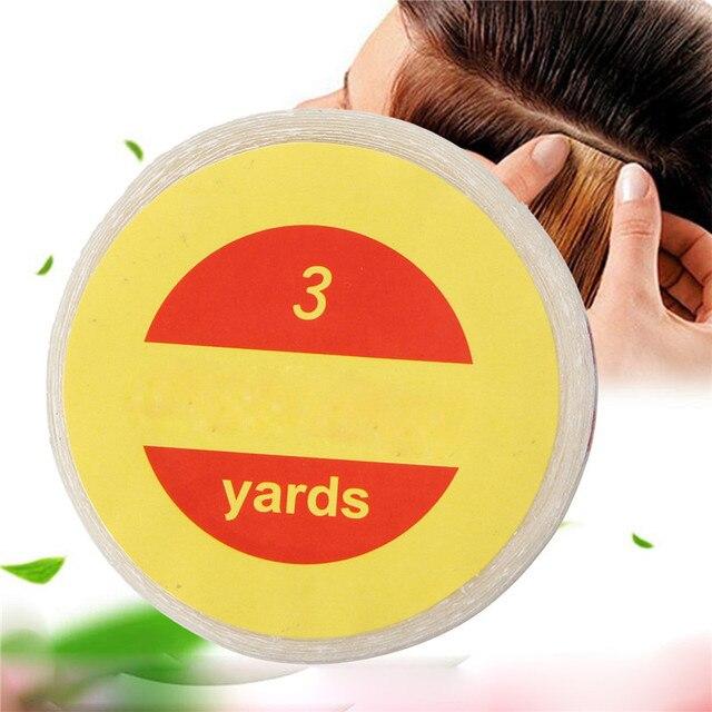 Bande adhésive Super transparente Double face 1 rouleau | 1 rouleau, 3 Yards, bandes adhésives solides pour Extension de cheveux, toupet 1 pièce