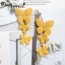 Модные серьги-капли с желтой бабочкой, ювелирные изделия для женщин, подвеска, массивные богемные Свадебные металлические висячие серьги, подарок