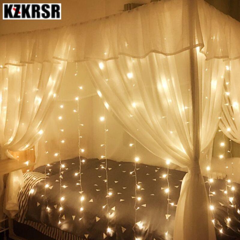все цены на KZKRSR 3.5m*0.5m,3m*3m,6m*3m LED Curtain Icicle string Light led Fairy lamp for Christmas Holiday wedding Party Garland Decor онлайн