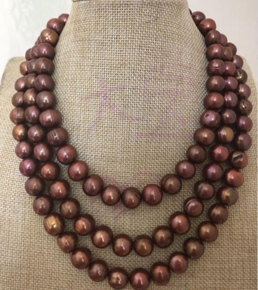 gorgeous 12-13mm south sea baroque chocolate pearl necklace 38inch 925silvergorgeous 12-13mm south sea baroque chocolate pearl necklace 38inch 925silver