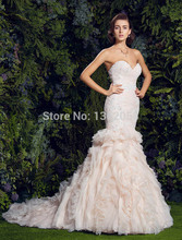 2019 Elegant Mermaid Chiffon Wedding Dress Sweetheart Lace up Back Bridal gown